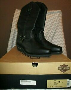 Harley Davidson Men's Black Pecos Cowboy Leather Boots D91202 New IOB Size 11