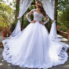 f3c24783b Apliques de Encaje blanco marfil Baile Vestido Vestidos para Boda Manga  Larga Trajes de Novia