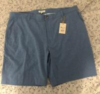 Peter Millar Crown Sport Golf Shorts Light Blue Polyester Flat Front Size 40 $89