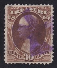 US O81 30c Treasury Department Used w/ Violet Iron Cross Fancy Cancel