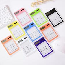 Ultra Slim Mini Transparent LCD Solar Powered Calculator Screen 8 Digit lz K4P2