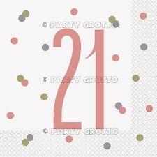 Glitz Rose Gold 21st Birthday Napkins Pack of 16