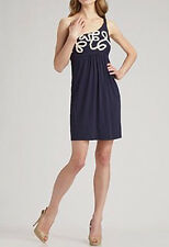 $148 BCBG INK EMBROIDERY (NJR6D414) ONE SHOULDER RAYON JERSEY DRESS NWT XS