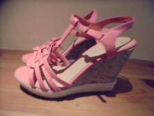 SIZE 6 NEW LOOK PEACHY PINK WEDGE HEEL SANDAL SHOES