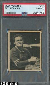 1948 Bowman Football #107 Sid Luckman Chicago Bears RC Rookie HOF PSA 4 VG-EX