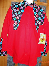 NEW! Wind Roper Fire Red/Black/Turquoise/Purple Cowboy Look Shirt Size Large