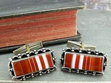 Vintage Israel 925 Silver Scalloped Beaded Edge Striped Cufflinks
