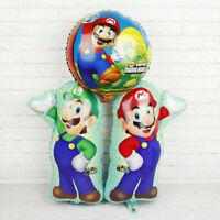 3pcs Super Mario Party Supplies Mario LUIGI Super Shape Foil Helium Balloon
