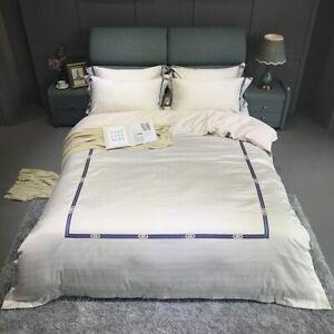 Cotton Bedding Set Gray Jacquard Duvet Cover Set 4pcs Embroidery Bed Linen Quilt