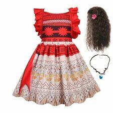 Summer Moana Dress Girl Ruffles Straps Backless Vaiana Dress Up Princess Outfit