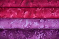 Lot de 4 coupons de tissus patchwork 24x55cm  fuschia et lilas
