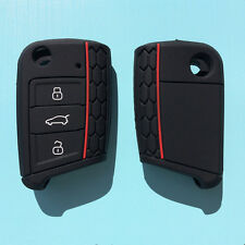 SILICONE FLIP CAR KEY COVER for VW VOLKSWAGEN MK7 GOLF-BLACK