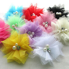 Mix 20PCS Mesh Ribbon Flowers Bows W/Beads Rhinstone Appliques Craft  Lots A426
