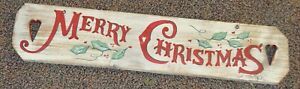 Vintage Look Merry Christmas Primitive Distressed White-washed Wood Sign