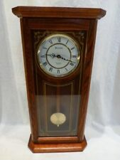 Bulova Cirrus C3375 Pendulum WALL CLOCK Oak Gold Etched Westminster Chime 26""