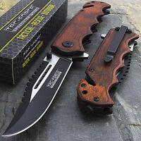 "8"" TAC FORCE WOOD 2-TONE SPRING ASSISTED FOLDING POCKET KNIFE Blade Assist Open"