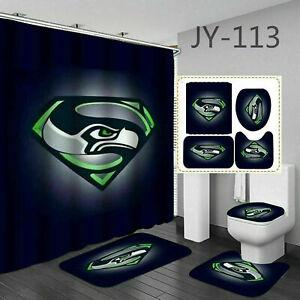 Seattle Seahawks Bathroom Rugs Set 4PCS Shower Curtain Bath Mat Toilet Lid Cover