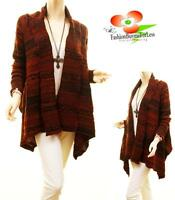 Boho Western Hippie Cowgirl Open Front Wool Cable Knit Cardigan Sweater Coat