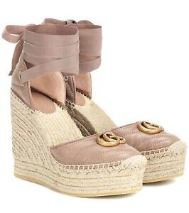 Gucci Pilar Marmont Espadrille Wedge Sandals Double G Size 38/8