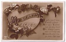 Vintage E A Schwerdtfeger Valentine Postcard 'My Hearts Secret' - no stamp