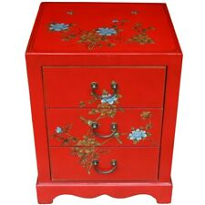 Chinese Bedside Table - Hand Painted Red 3 Drawers New (BC-S3R-FL)
