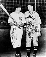 Joe Dimaggio Bob Feller Autographed Repro Photo 8X10 Yankees Indians