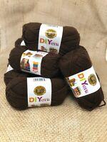 NIB Lion brand Acrylic Brown Yarn #4 Medium Lot Of 10 Skeins 650 Yards MSRP $45.
