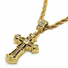 """Mens 14K Gold Plated Spear Edge Cross Hip-Hop 4 mm/24"""" Rope Chain With pendant"""