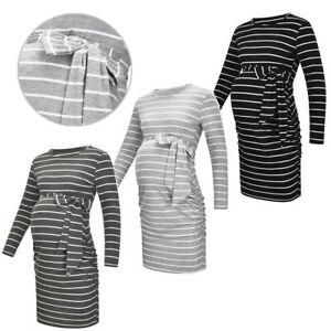 Maternity Pregnant Women Dress Casual Striped Long Sleeves Nursing Clothes Party