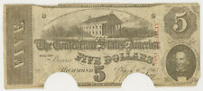 1863 $5 Confederate States of America ~ Csa Priced Right!