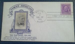 First day of issue, 1940 Famous Americans, Ralph Waldo Emerson, # 861