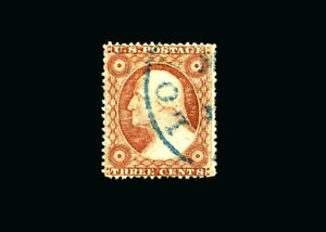 US Stamp Used, XF S#26  Lovely Blue cancel