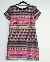 Dotti Women's Short Sleeve Tunic Shift Dress Size 10 Geometric Print Boho