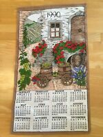 Vintage Linen Calendar 1990 Wine Country Scene Fields Grapes Kitchen Textiles