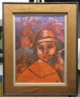 Elzire Malebranche Vintage Portrait of Young Haitian Listed Haiti Artist