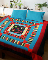 Amish style patchwork Medallion nice borders FINISHED QUILT - Ready to love