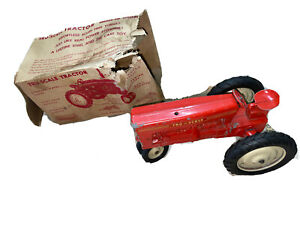 RARE Vintage TRU-SCALE Metal Tractor Toy - RED - Vintage Metal Toy WITH BOX