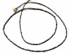"Super Quality Natural Black Diamond Drum Shape Beads Necklace 19"" Gold Clasp"