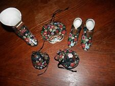 Set of Black and Floral Ceramics, Hat, Set of Shoes, Boot, Etc. Nice