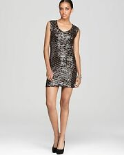 Guess Tiger Eye Chocolate Mocha Sequin Sexy Sheath Party Dress . NWT Small