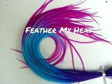 "Feather Hair Extensions Multi Color Rainbow Extreme Length 14""+ Long (35.56 cm)!"