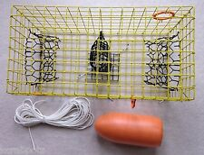 PVC Yellow Commercial Grade Crab Pot / Trap With 50 Foot Line & ORANGE 5x11 Buoy