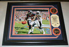 BRANDON MARSHALL HIGHLAND MINT FRAMED AUTOGRAPHED 8X10 8/85 DENVER BRONCOS