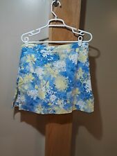 AW Golf Skirt/ Shorts Women's Size 12 Cotton Floral Light Blue Yellow by Allyson
