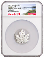 2015 Canada Maple Leaf Shaped 1 oz Silver Proof $20 Coin NGC PF69 UC SKU48516