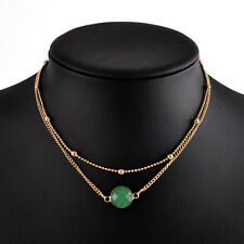 Women Jewelry Charm 2 Layer Natural Stone Crystal Opal Pendant Choker Necklace