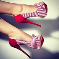 NEW Women Pumps Stripe Open Toe High Heels Red Black Shoes Woman Plus Size 4-20