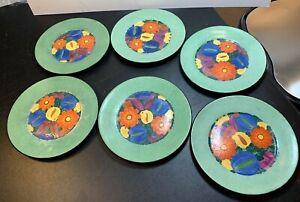 "Set 6 Vintage Hand Painted Czech Art Pottery Mrazek Lunch Plate 8 1/4"" Diameter"