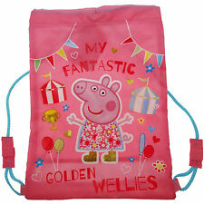 Peppa Pig GOLDEN WELLIES TRAINER SPORTS DRAWSTRING BAG Toddler Child Gift BNWT