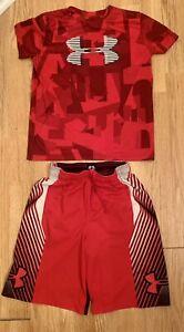 UNDER ARMOUR Big Boy's HeatGear T-Shirt and Shorts   - Youth Medium